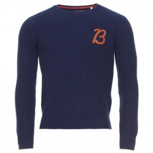 Pull col rond Serge Blanco en laine bleue marine - 97€30 au lieu de 139€